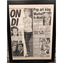 Andy Warhol - Giornale Originale con notizia della sua morte - Anno 1987 - Raro