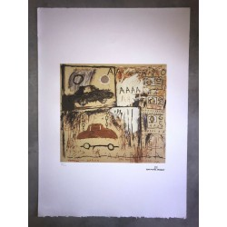 Dettagli su  Jean-Michel Basquiat - Litografia - Cadillac Moon - 1981 - 250 ex. - 50x70