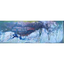 Dettagli su  Pietro Sarandrea - Tecnica Mista su tavola - 59.5x21 cm - certificato artista