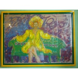 Dettagli su  Olio su Tela - Mark Goodman - La Femme assise sur un banc