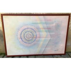 Dettagli su  W Knight - L' Universo - Olio su tela - 70x105 cm - scuola americana 20th